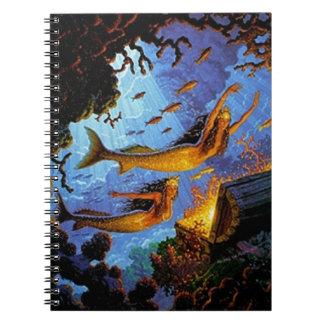 金ゴールドの人魚の宝物 ノートブック