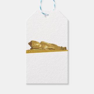 金ゴールドの仏の彫像の置くこと ギフトタグ