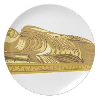 金ゴールドの仏の彫像の置くこと プレート