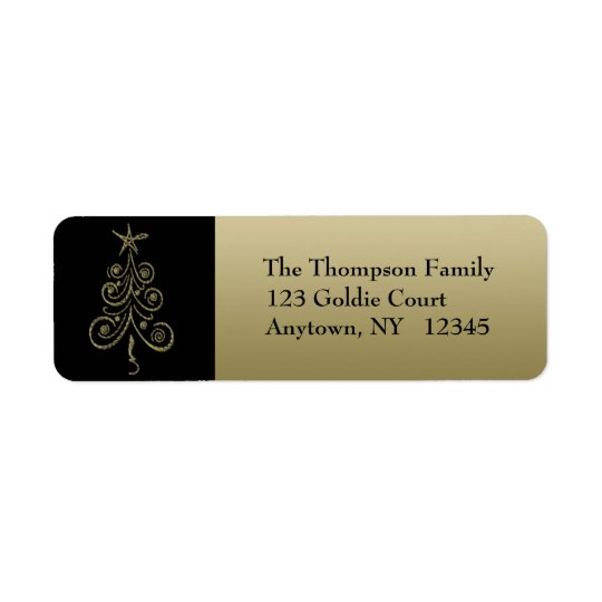 金ゴールドの休日の木の宛名ラベル ラベル