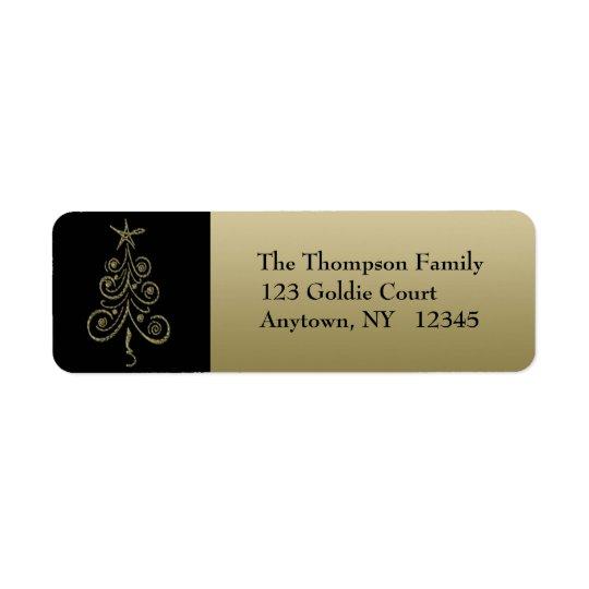 金ゴールドの休日の木の宛名ラベル 返信用宛名ラベル