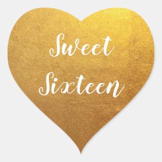 金ゴールドの写真のSweet sixteen ハートシール