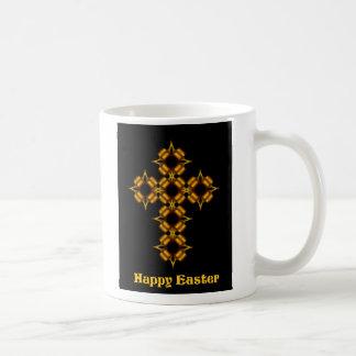 金ゴールドの十字のフラクタルのハッピーイースター コーヒーマグカップ