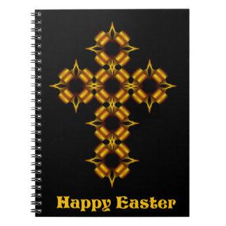 金ゴールドの十字のフラクタルのハッピーイースター ノートブック