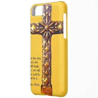 金ゴールドの十字の感動的な賛美歌 iPhone5Cケース
