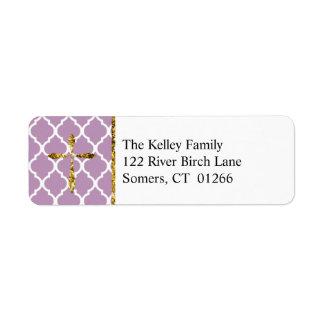 金ゴールドの十字、薄紫のクローバーのカスタムな住所 ラベル