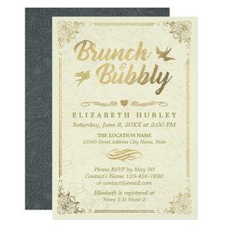金ゴールドの原稿花フレームのブランチおよび快活なブライダル カード