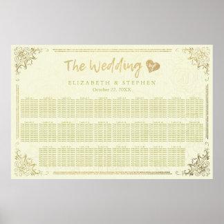 金ゴールドの原稿花フレームの結婚式の座席の図表 ポスター