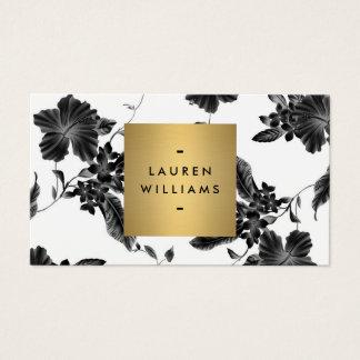 金ゴールドの名前のロゴのエレガントで黒い花パターン4 名刺
