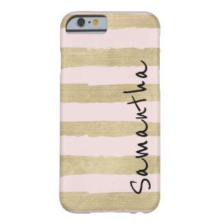 金ゴールドの名前入りな魅力的なピンクのストライプ BARELY THERE iPhone 6 ケース