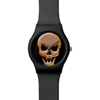 金ゴールドの吸血鬼のスカル 腕時計