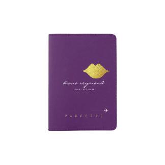 金ゴールドの唇を搭載する私の名前、フェミニンな紫色 パスポートカバー