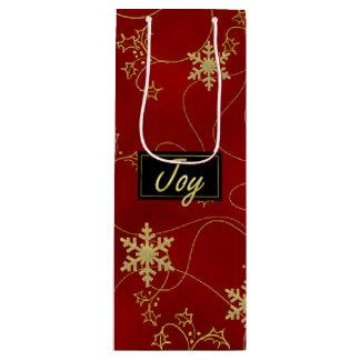 金ゴールドの喜びのクリスマスのワインのギフトバッグ ワインギフトバッグ