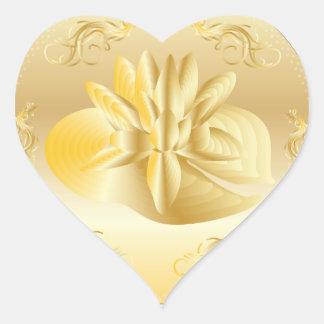 金ゴールドの大事な行事のお祝いのロマンチックなステッカー ハートシール