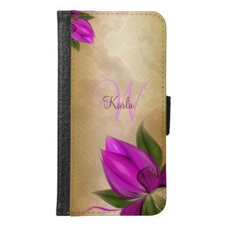 金ゴールドの大理石のピンクの花柄 GALAXY S6 ウォレットケース
