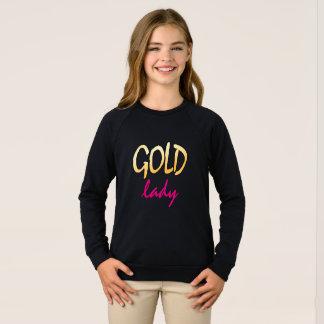金ゴールドの女性、文字のピンクおよび金ゴールド スウェットシャツ