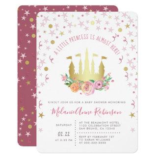 金ゴールドの妖精の城のきらめきの星の小さいプリンセス カード
