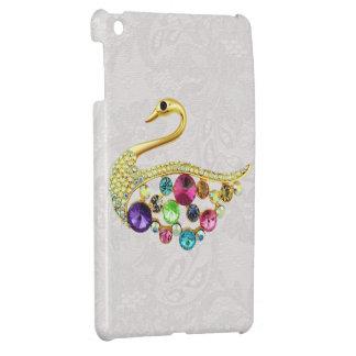 金ゴールドの孔雀の宝石のプリントのペイズリーのレースiPad Mini iPad Miniカバー