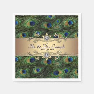 金ゴールドの孔雀の結婚式 スタンダードカクテルナプキン