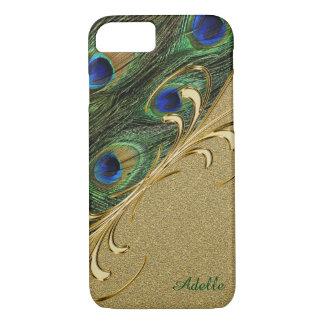 金ゴールドの孔雀の羽のiPhone 7Plusのモノグラムの場合 iPhone 8/7ケース