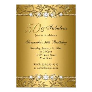 金ゴールドの宝石の葉50のすばらしい誕生日の招待状 カード