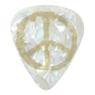 金ゴールドの平和 パールセルロイド ギターピック