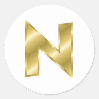 金ゴールドの手紙N ラウンドシール