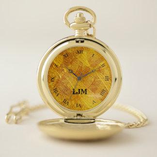 金ゴールドの抽象芸術のイメージの壊中時計が付いているモノグラム ポケットウォッチ