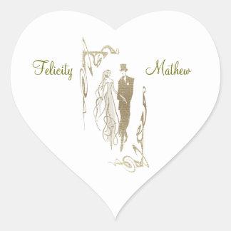 金ゴールドの新郎新婦の結婚式の芸術 ハートシール