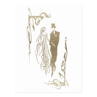 金ゴールドの新郎新婦の結婚式の芸術 ポストカード