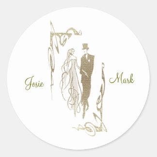 金ゴールドの新郎新婦の結婚式の芸術 ラウンドシール