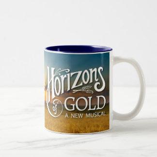 金ゴールドの日の出のツートーンマグの地平線 ツートーンマグカップ