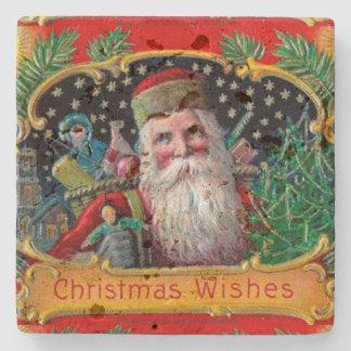 金ゴールドの星およびおもちゃが付いているビクトリア時代の人St.ニック ストーンコースター