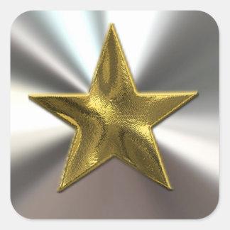 金ゴールドの星および銀のステッカー スクエアシール