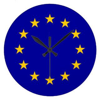 金ゴールドの星が付いているEの. -欧州連合の青 ラージ壁時計