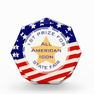 金ゴールドの星の米国旗賞 表彰盾