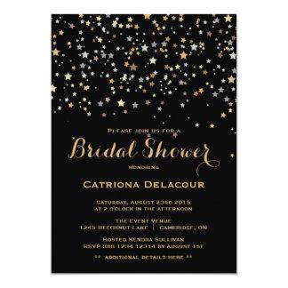 金ゴールドの星の紙吹雪のブライダルシャワーの招待状 カード