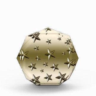 金ゴールドの星パターン星明かりの輝きの金属の効果 表彰盾