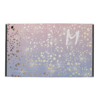 金ゴールドの星ホイルの輝きのローズクォーツの平静の青 iPad ケース