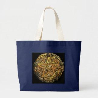 金ゴールドの星形五角形 ラージトートバッグ