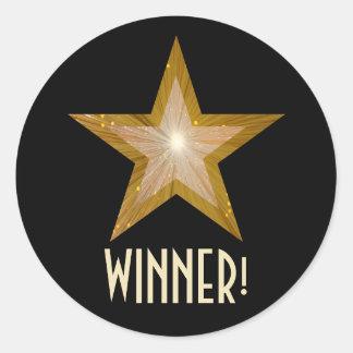 金ゴールドの星「勝者!」 円形のステッカーの黒 ラウンドシール