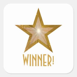 金ゴールドの星「勝者!」 正方形のステッカーの白 スクエアシール