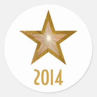 金ゴールドの星「2014年」の円形のステッカーの白 ラウンドシール