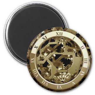 金ゴールドの時計およびギアのSteampunkの機械ギフト マグネット