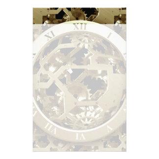 金ゴールドの時計およびギアのSteampunkの機械ギフト 便箋