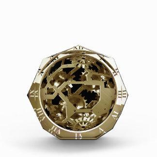 金ゴールドの時計およびギアのSteampunkの機械ギフト 表彰盾