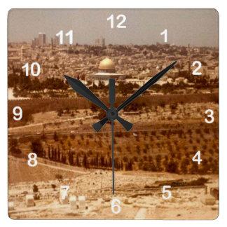 金ゴールドの時計の都市 スクエア壁時計