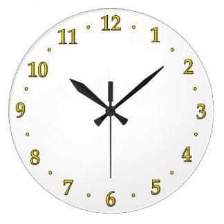 金ゴールドの時計数顔のテンプレートの使用あなたのデザイン ラージ壁時計