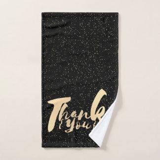 金ゴールドの書道は黒く模造のなホイルで点を打ちます感謝していしています バスタオルセット