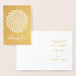 金ゴールドの曼荼羅のナマステの挨拶状 箔カード
